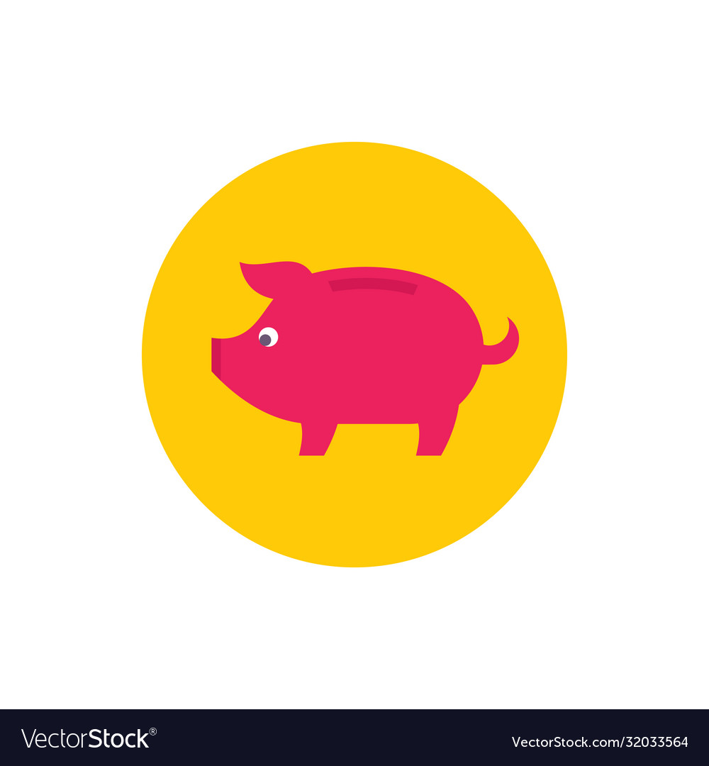 Piggy bank - concept colored icon in flat graphic