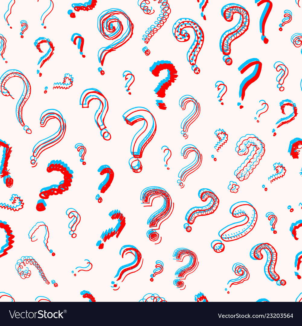 Question Mark Seamless Pattern Doodle Style