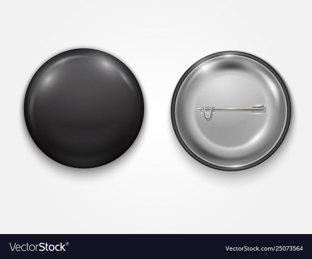 Realistic black blank badge