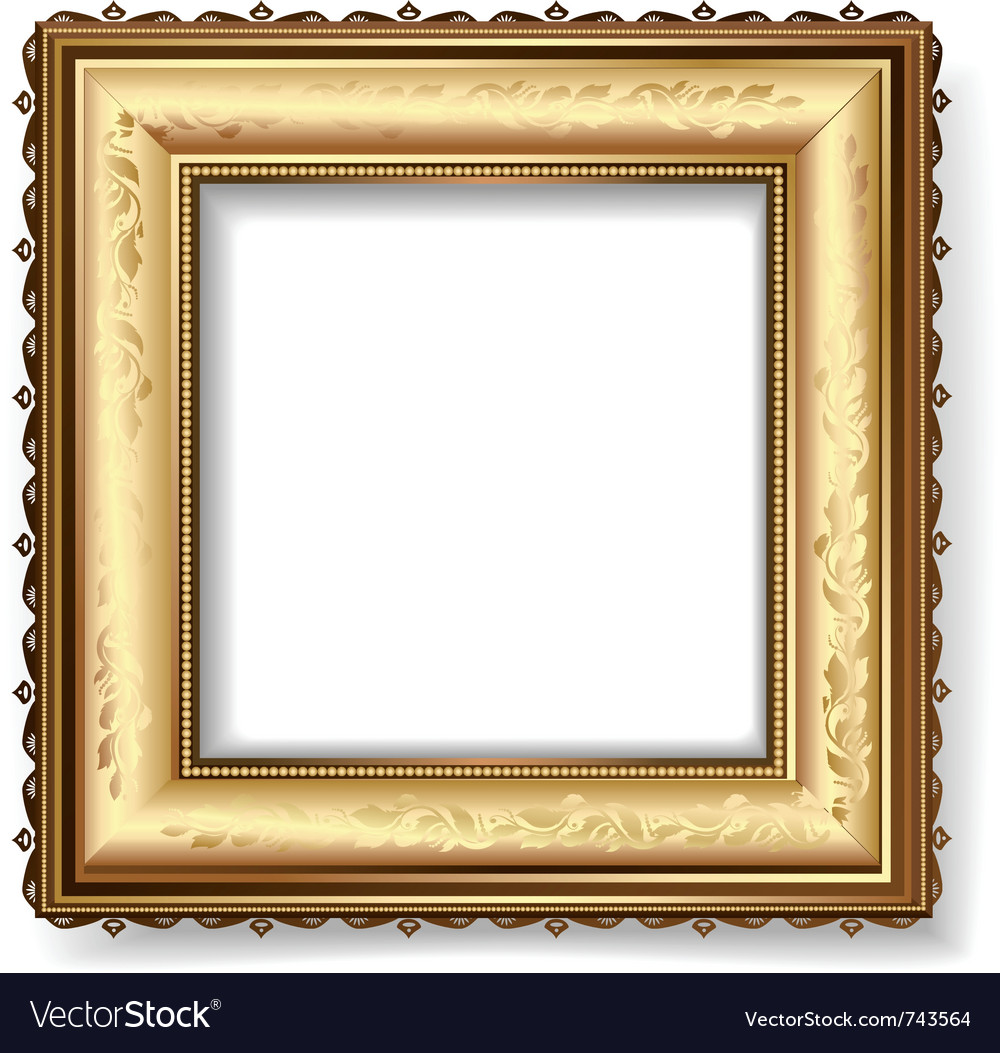 Retro frame with gold leaf vector image