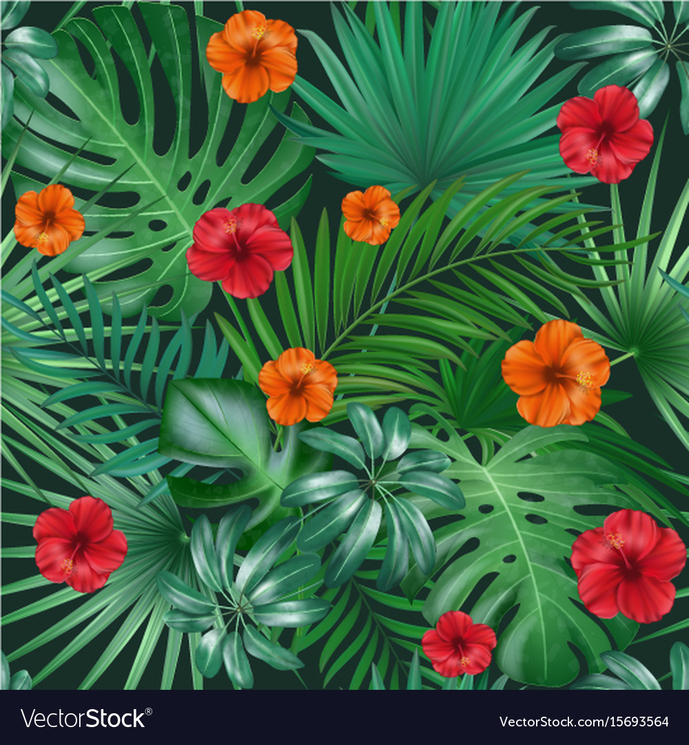 Seamless hand drawn tropical pattern with