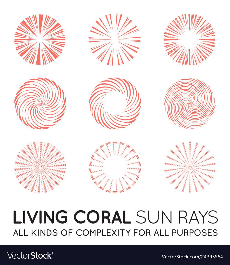 Set sunburst rays sun in trendy coral color