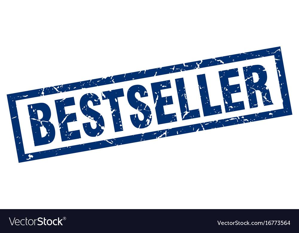 Square grunge blue bestseller stamp