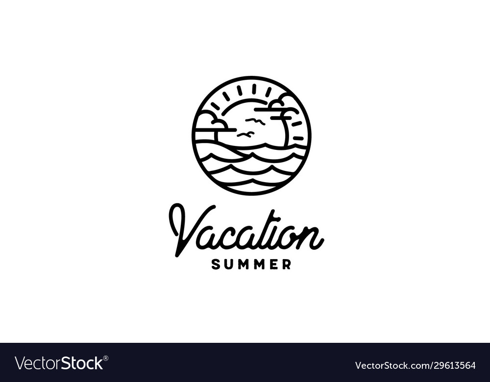 Summer beach island sea ocean wave sun sky logo