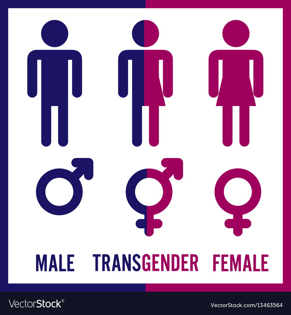 Transgender male set of symbols isolated on