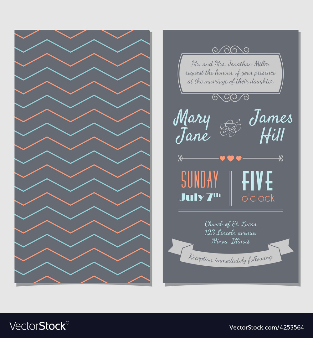 Vintage invitation card with background zigzag vector image stopboris Choice Image