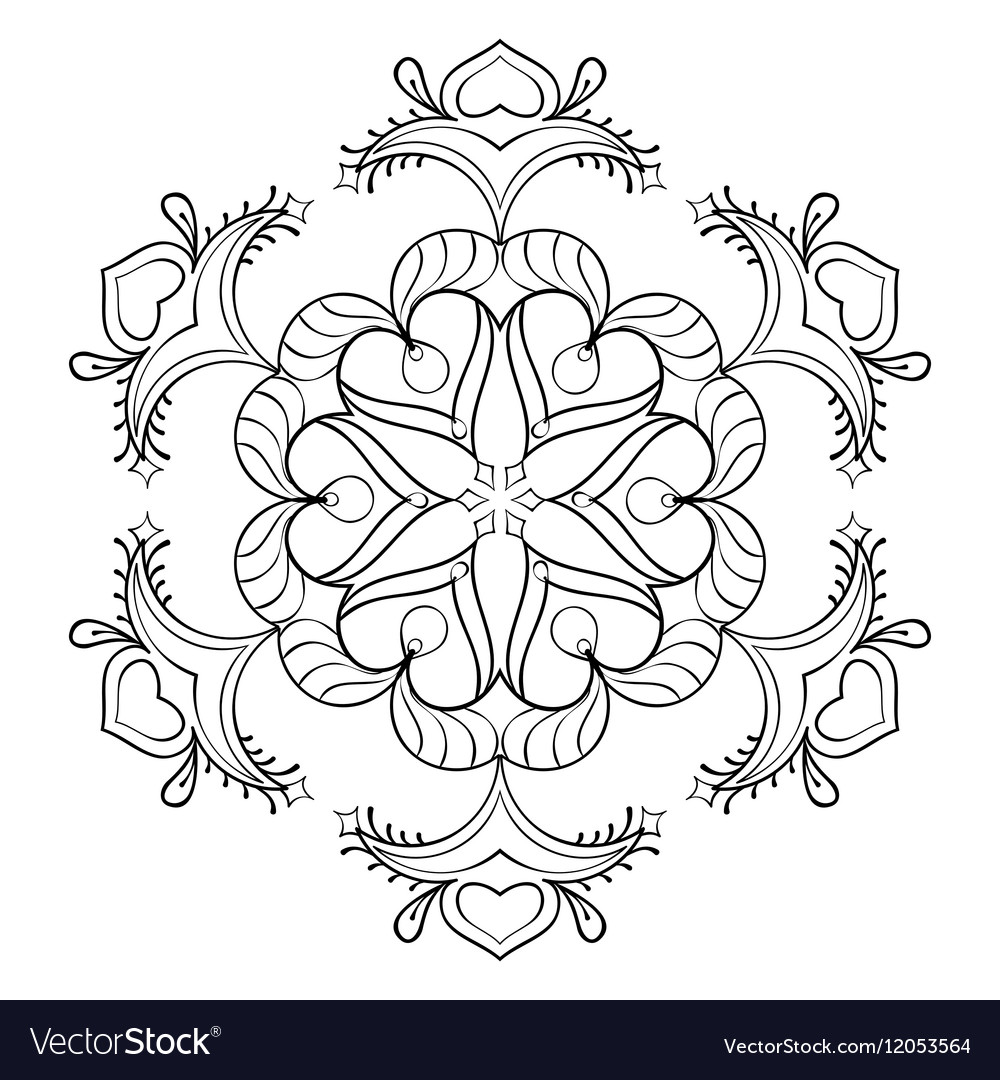 Zentangle snow flake elegant mandala for adult vector image