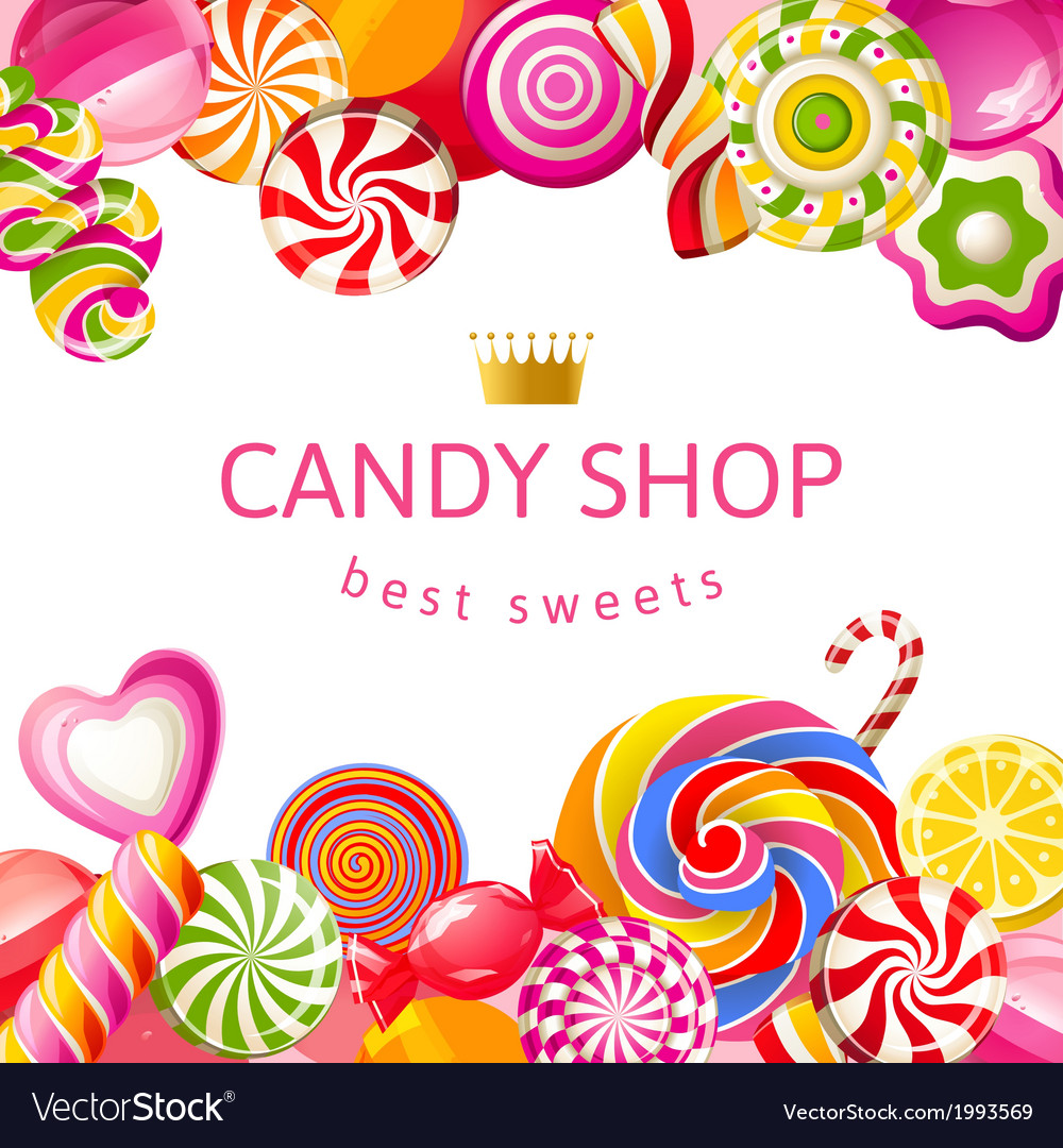 Bright background with candies vector image