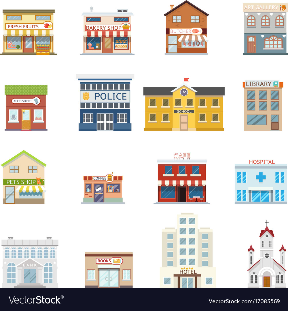 City street building shops real estate vector image