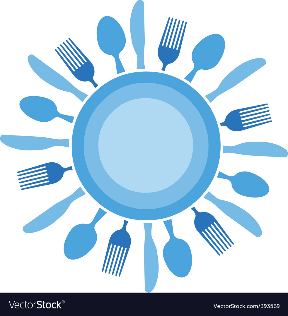Dinner table setting vector image