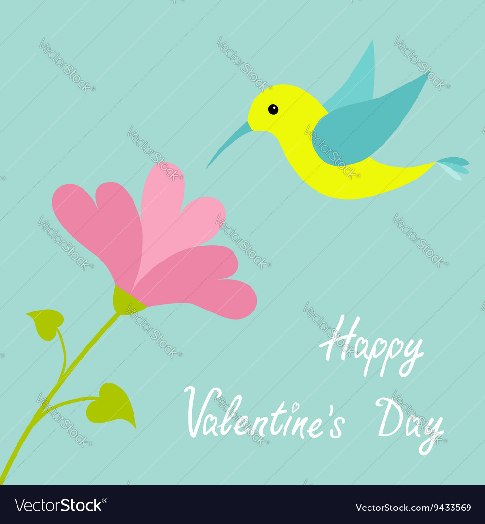 Flying colibri bird and heart flower Cute cartoon