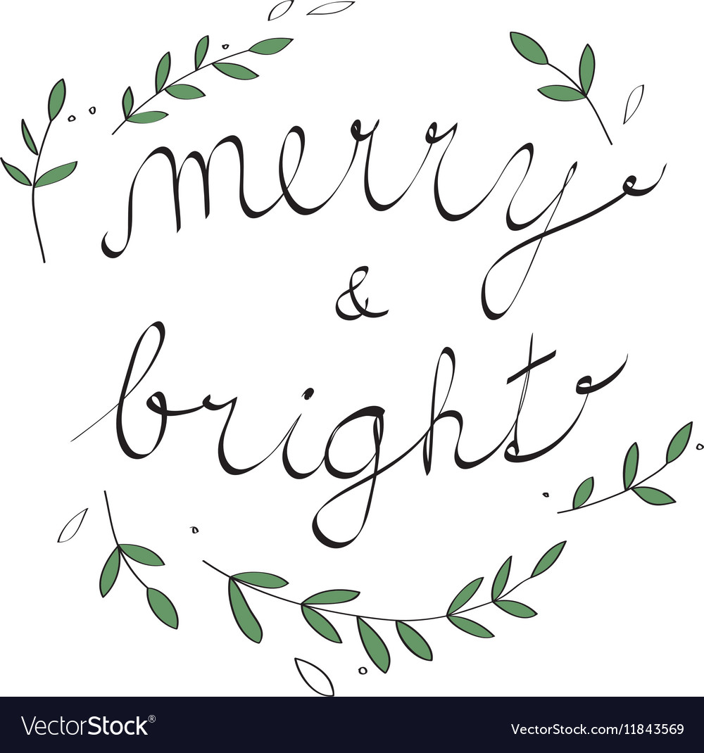 Handwritten Christmas with Christmas carol vector image
