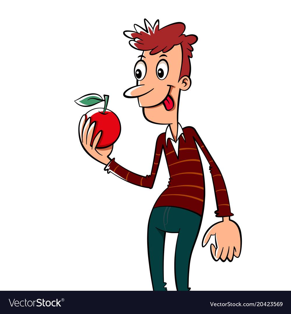Man with an apple