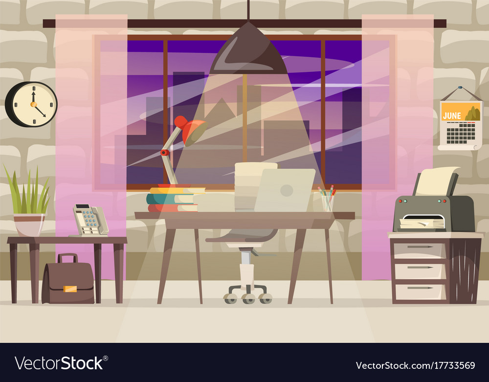 Office desk orthogonal composition