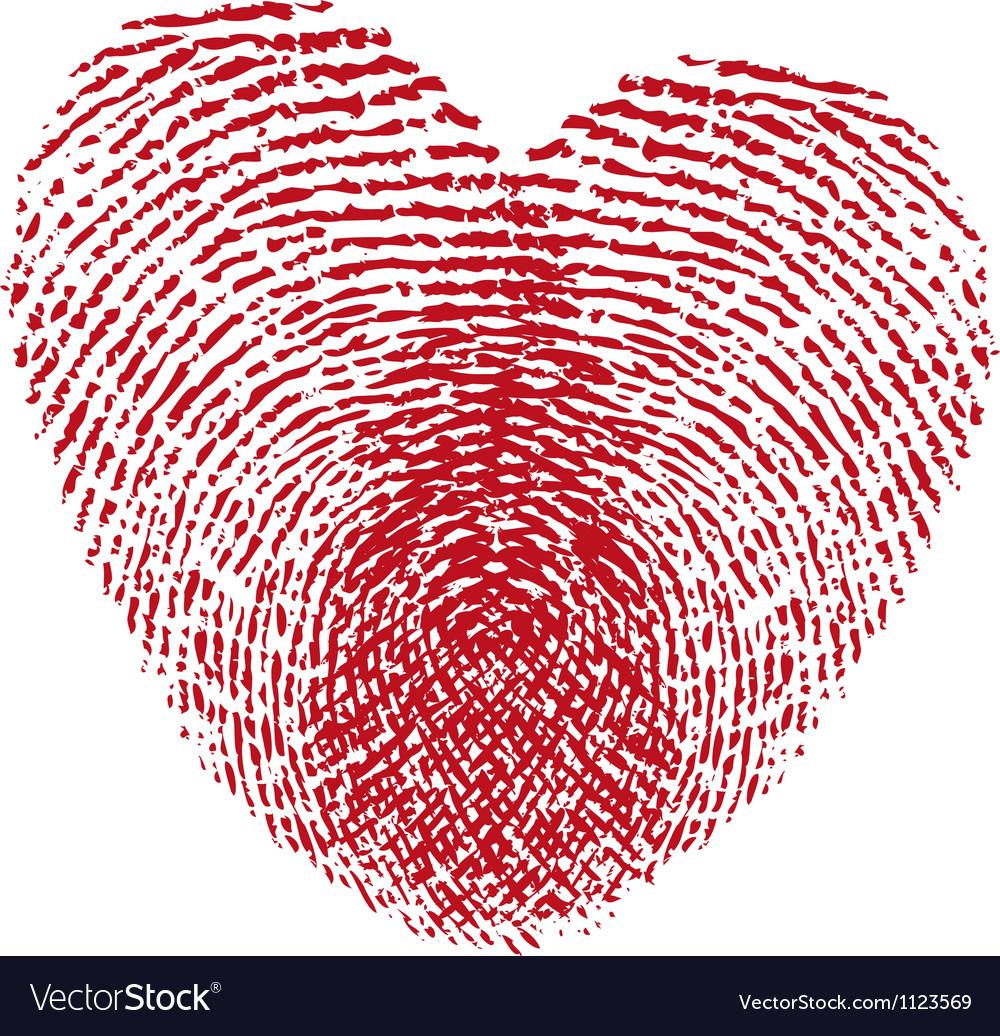 Red fingerprint heart