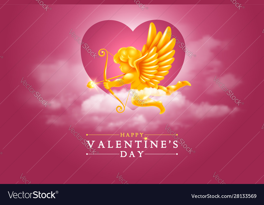 Valentines day greeting card with cupid in the