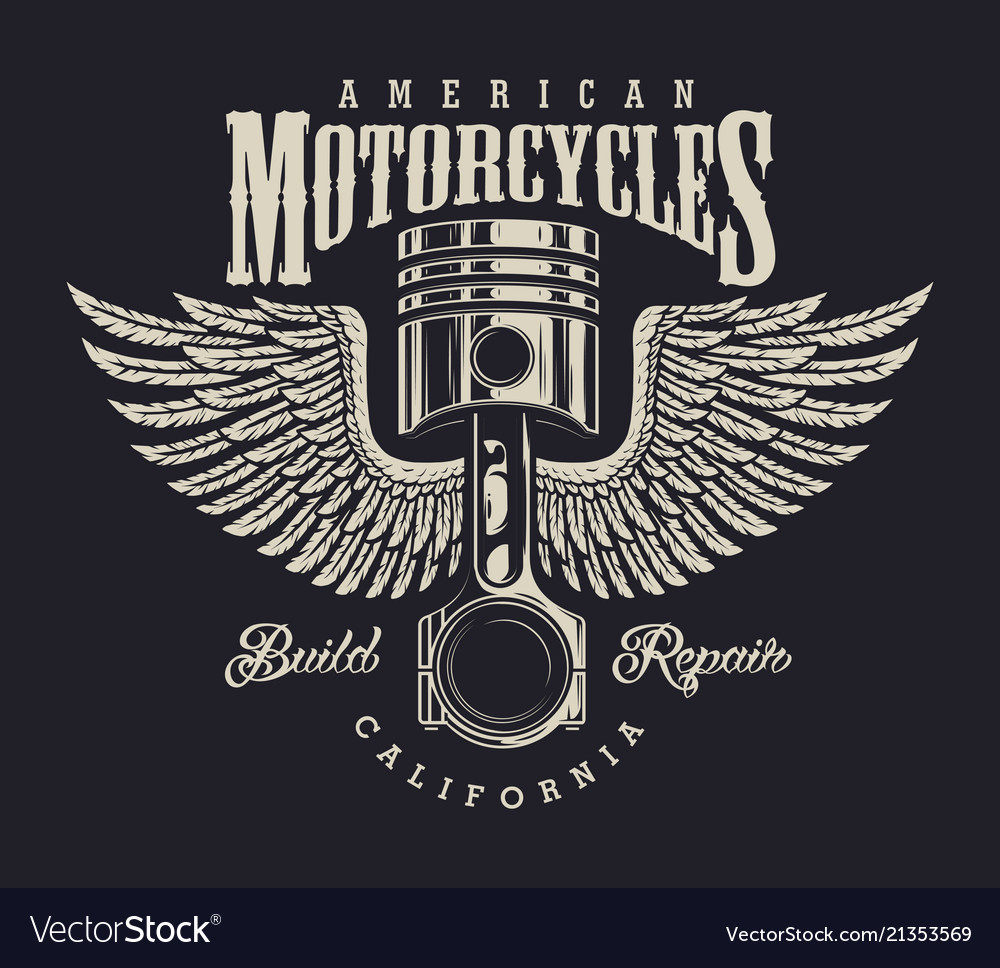 Vintage Motorcycle Repair Shop Logo Royalty Free Vector