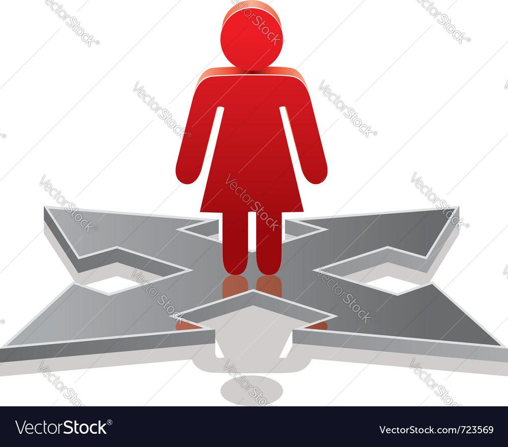 Woman making a choice on crossroads