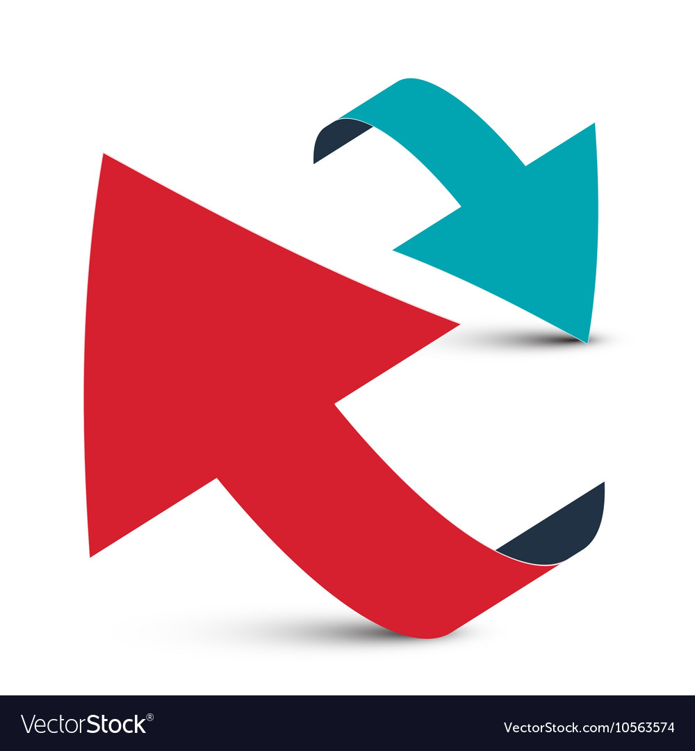 arrows 3d red and blue arrow logo design vector image