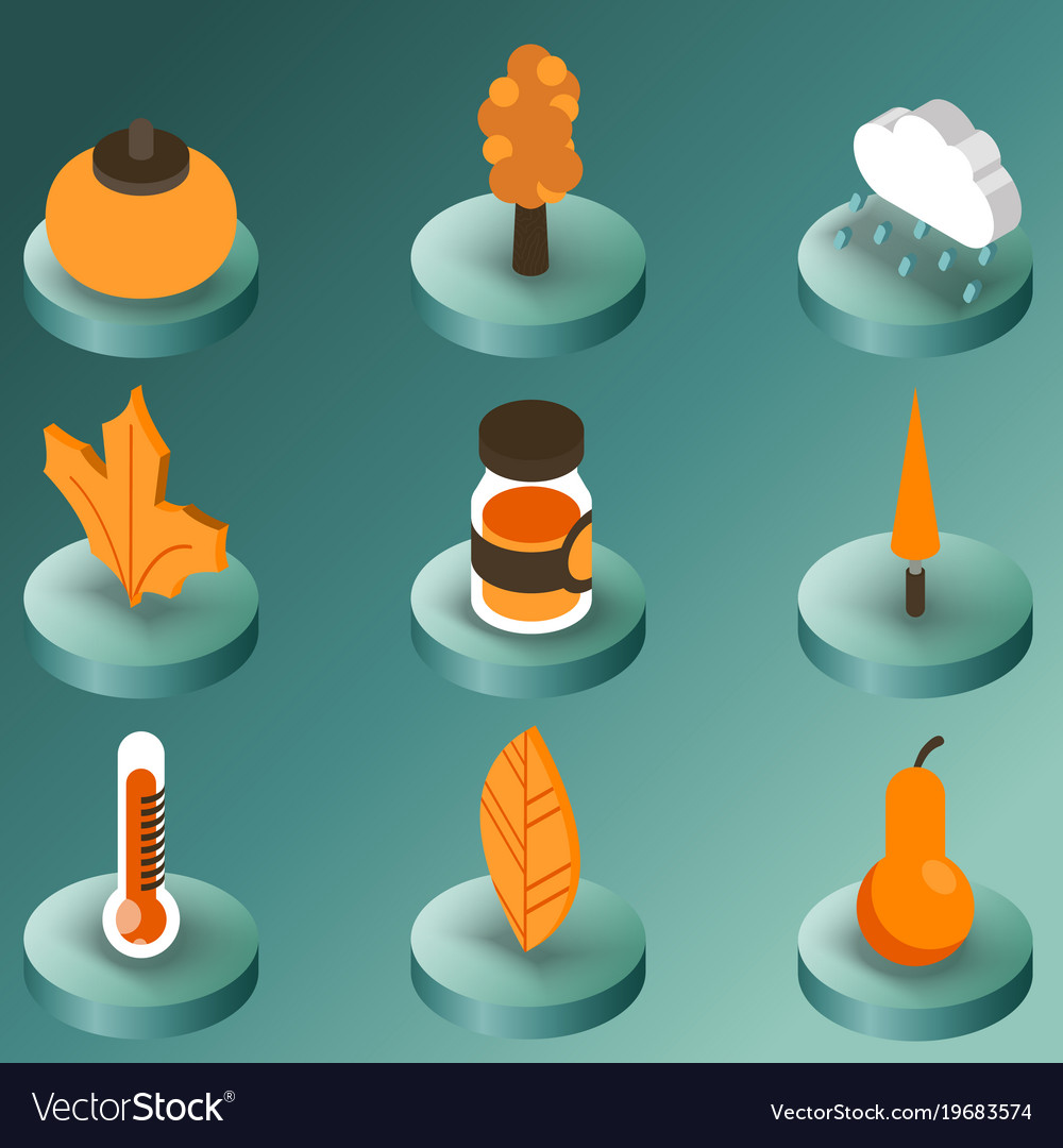 Autumn color isometric icons