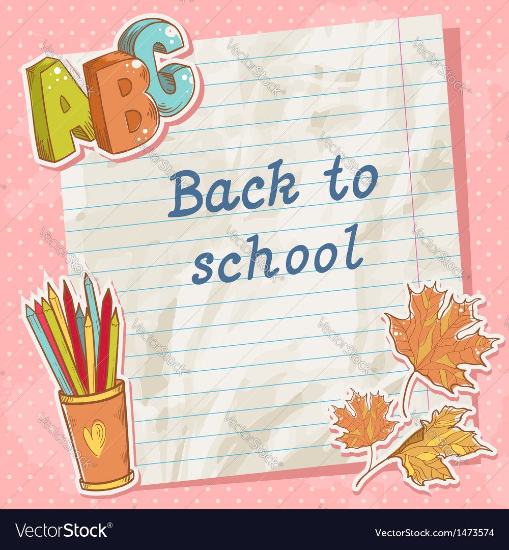 Back to school card on paper sheet