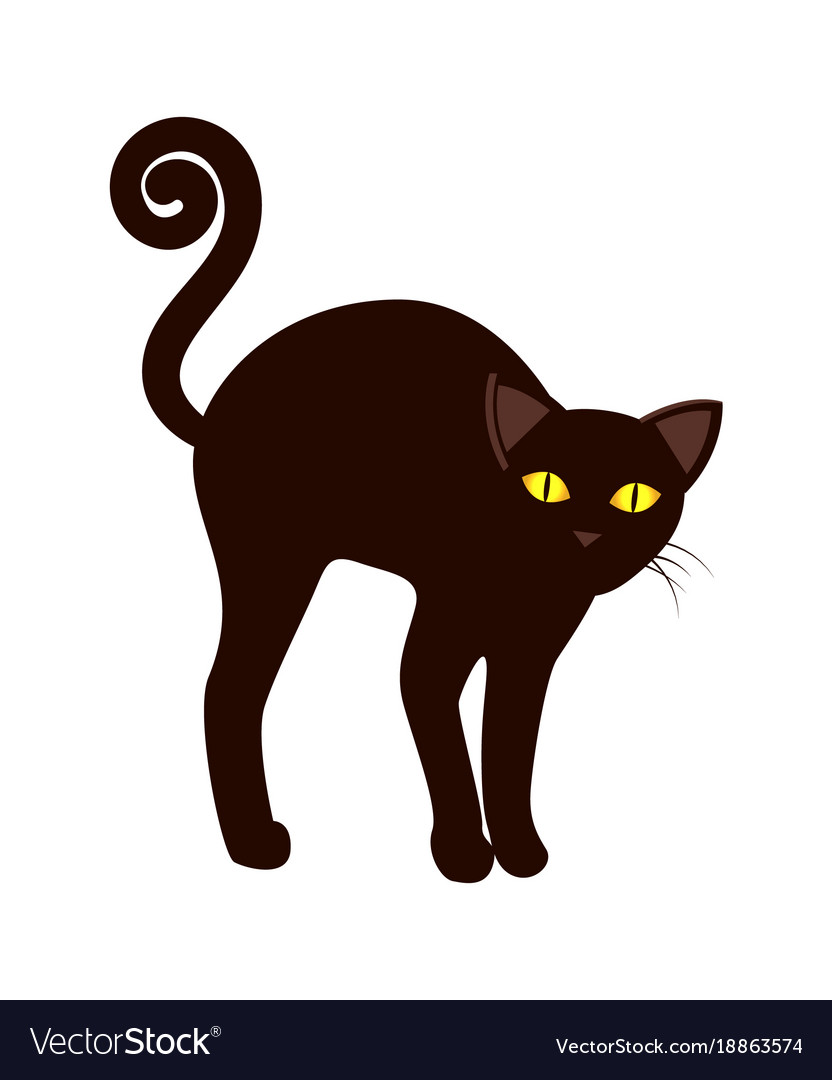 black cat with long tail symbol halloween vector image
