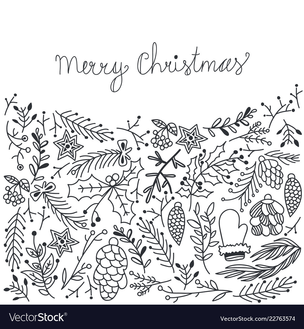 Christmas greeting natural sketch background