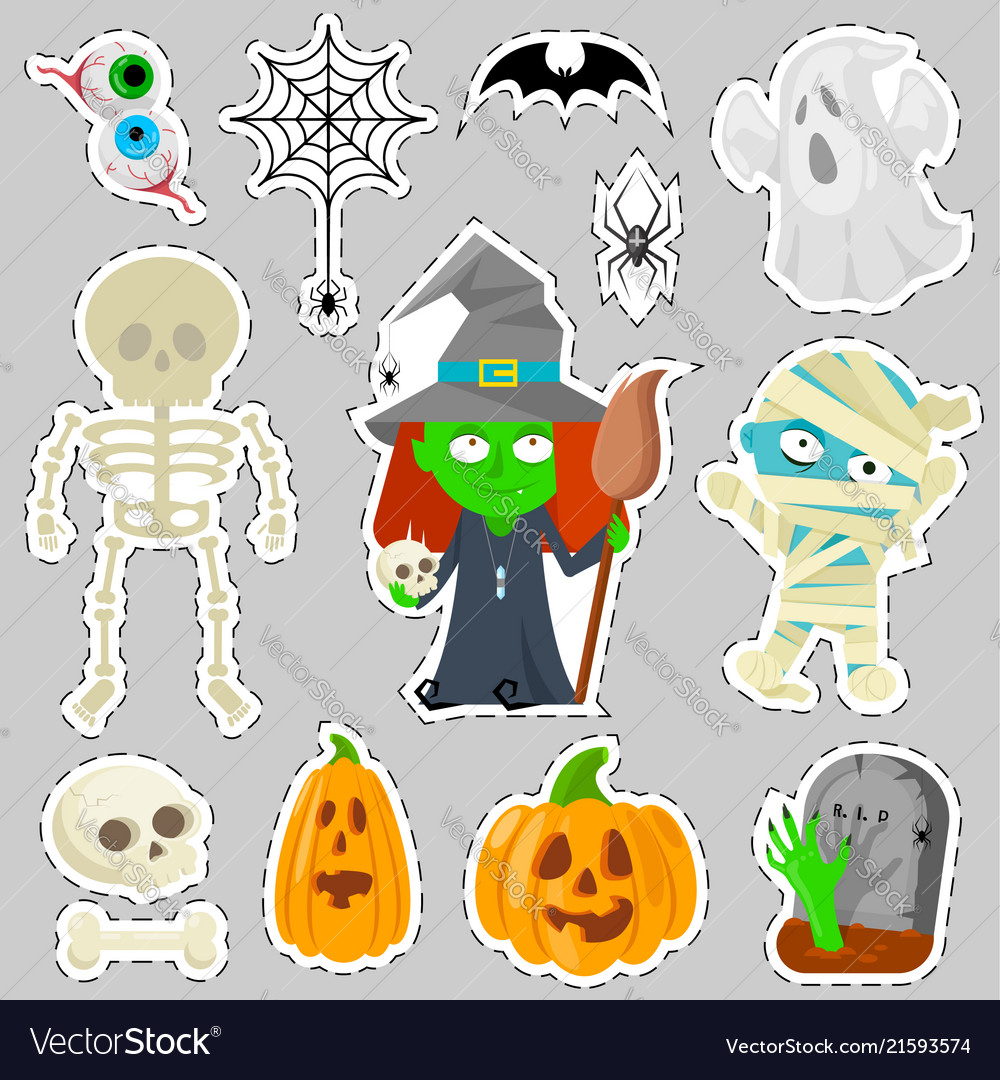 Colorful stickers for on gray background