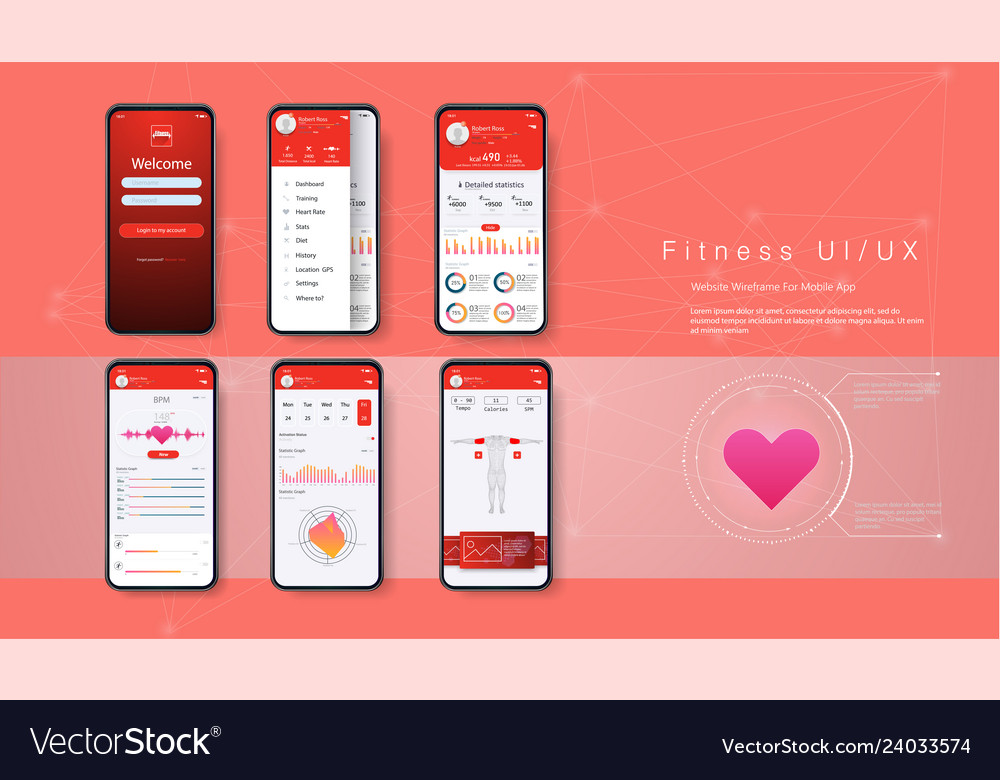 Different ui ux gui screens fitness app