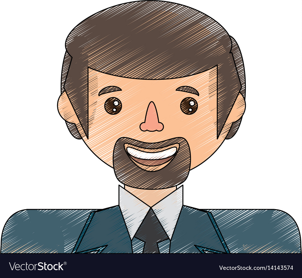 Drawing face man male avatar vector image