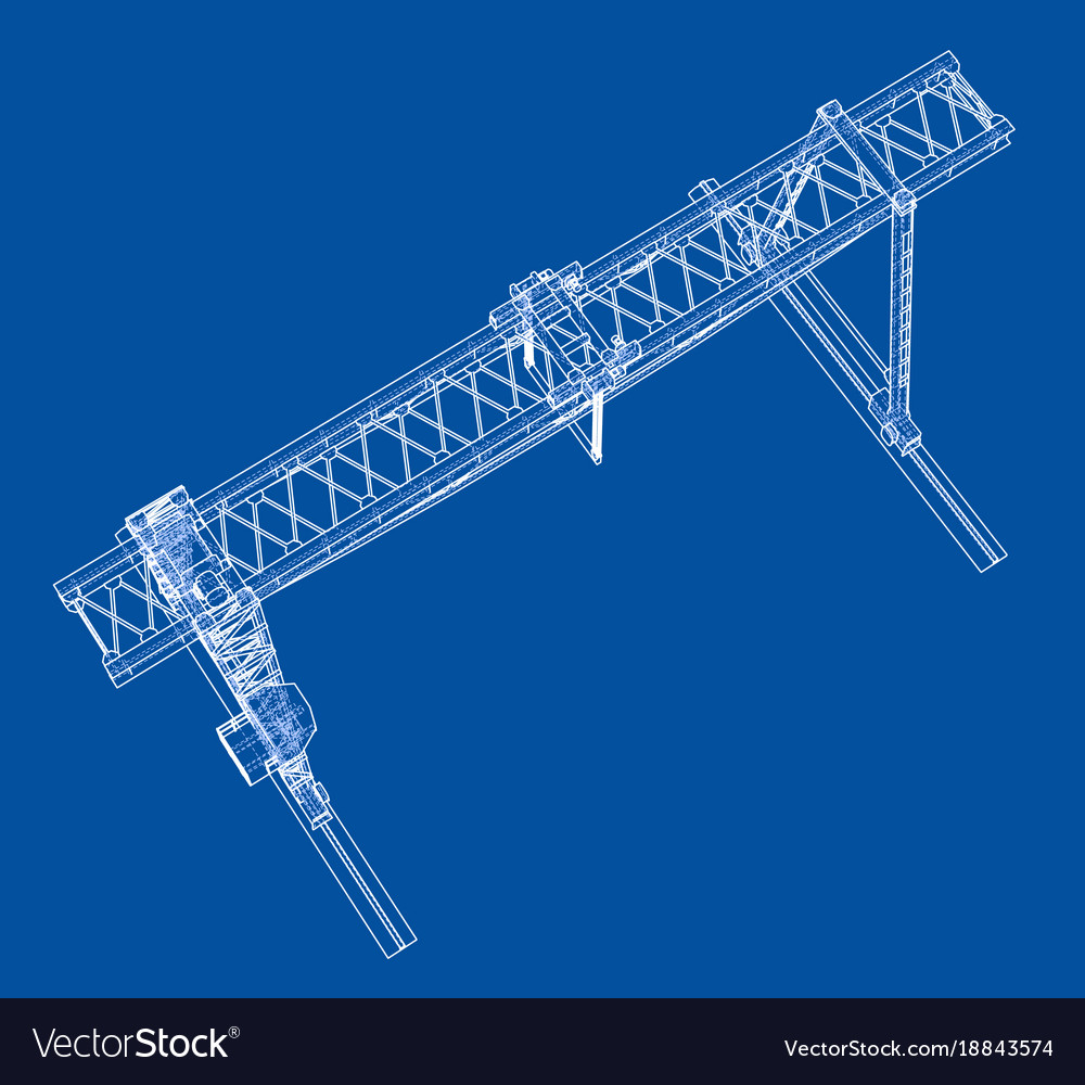 Gantry Crane Wire Frame Eps10 Format Royalty Free Vector Overhead Wiring Along With Diagram Image