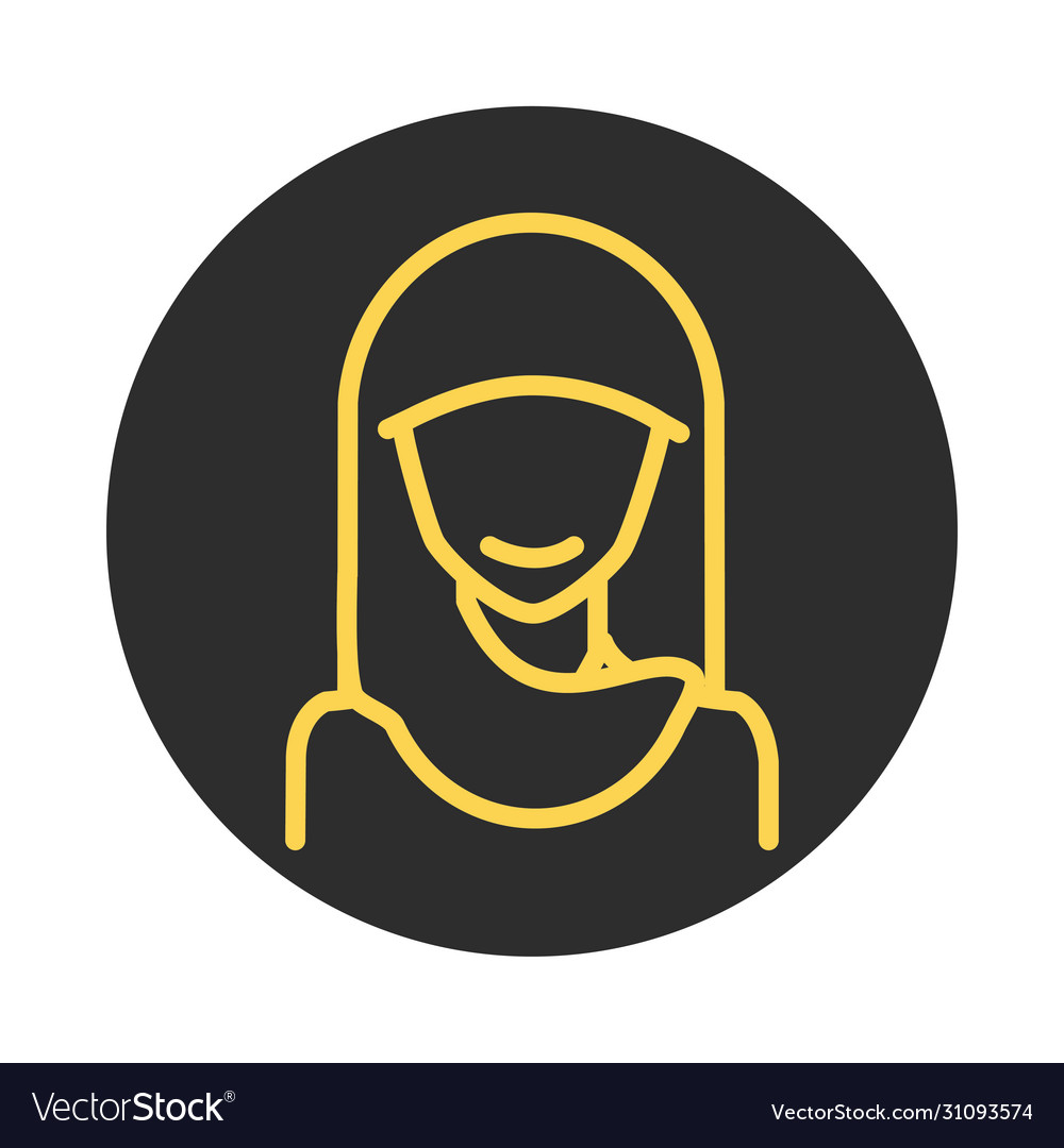 Muslim woman with hijab character block and line