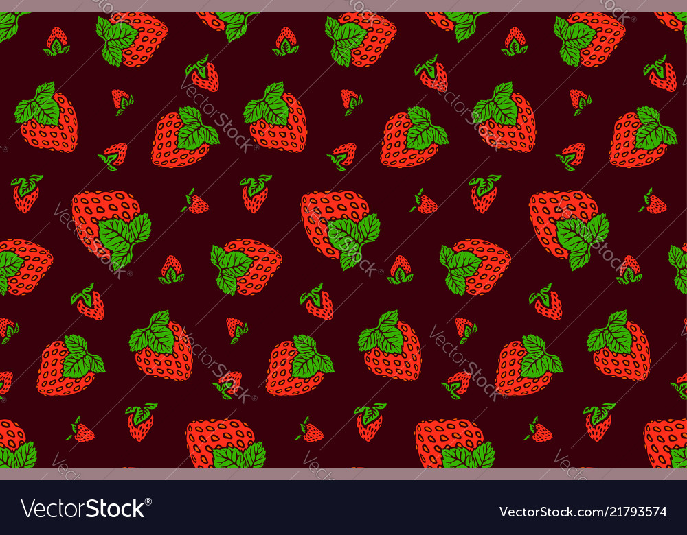 Nice Pattern With Strawberry On Purple Background Vector Image New Strawberry Pattern