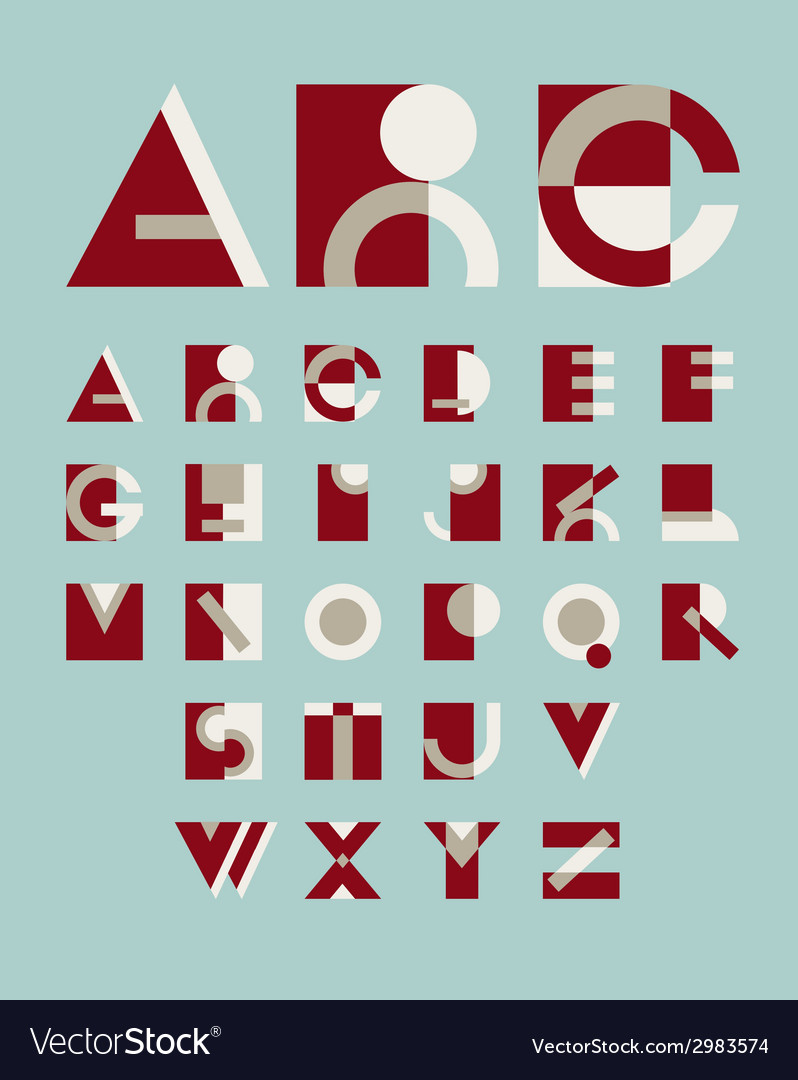Original geometric alphabet vector image