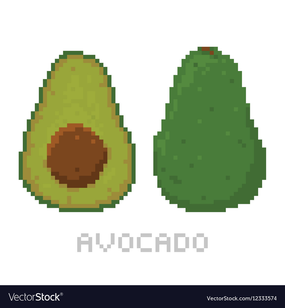 Pixel art game style avocado isolated