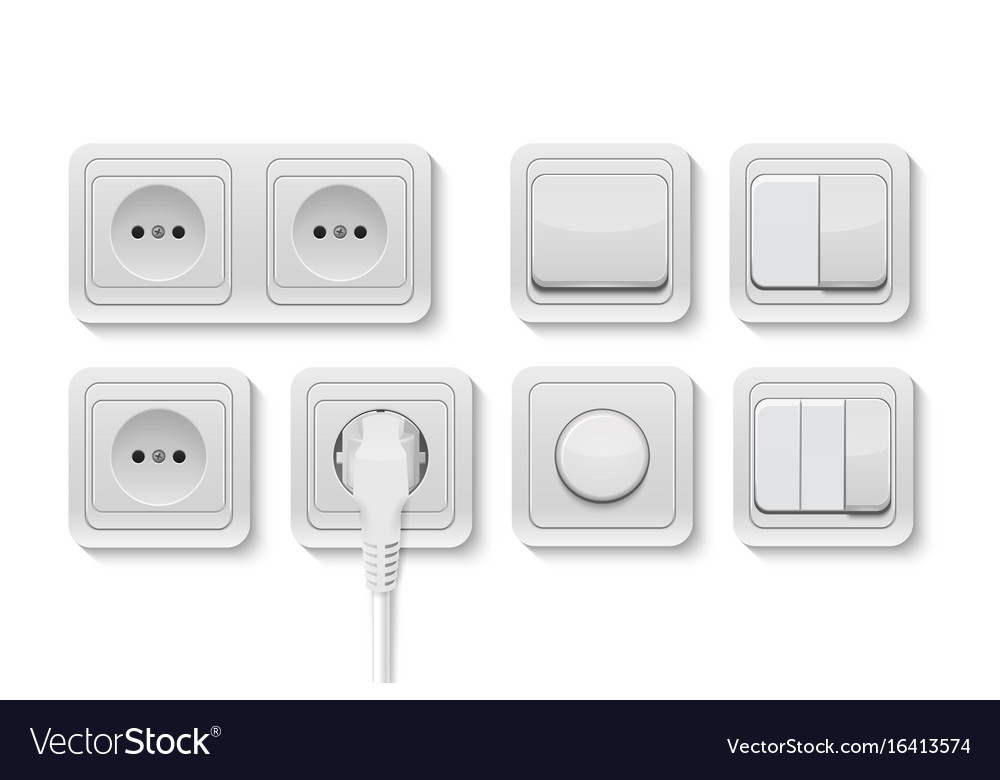 Realistic white switches and socket set