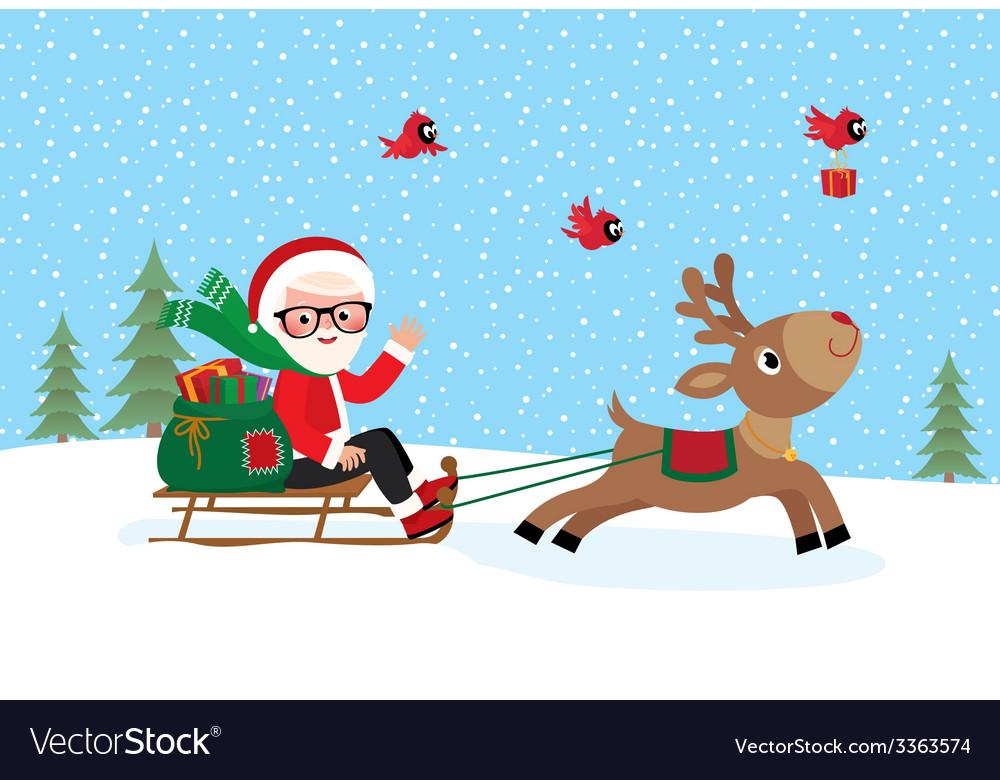 Santa Claus on sledge vector image