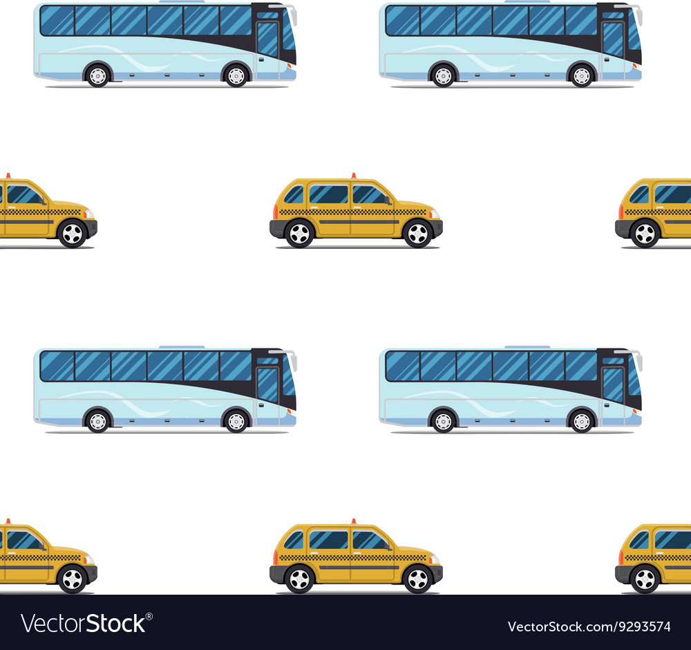 Seamless pattern of the cab and passenger bus