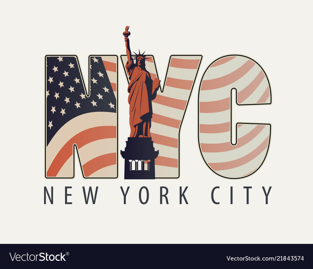 The letters nyc with the image of american flag