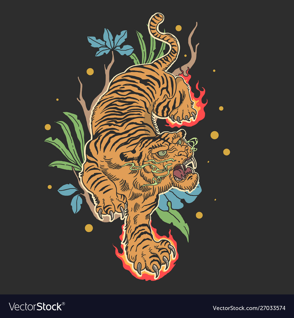 Tiger tattoo design with floral