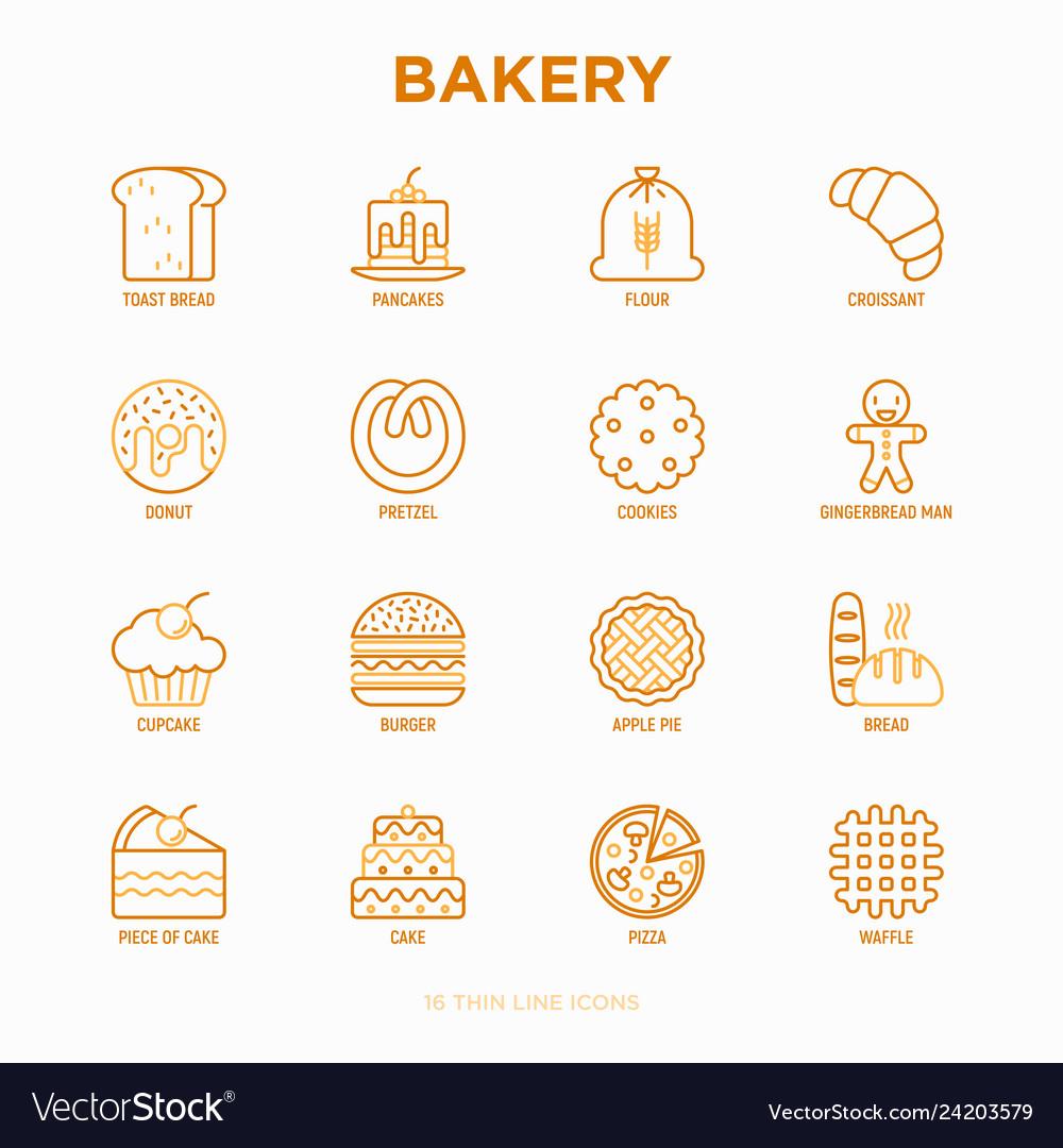 Bakery thin line icons set