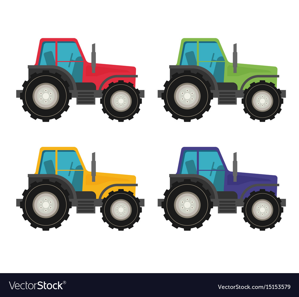 Colorful tractors on white background
