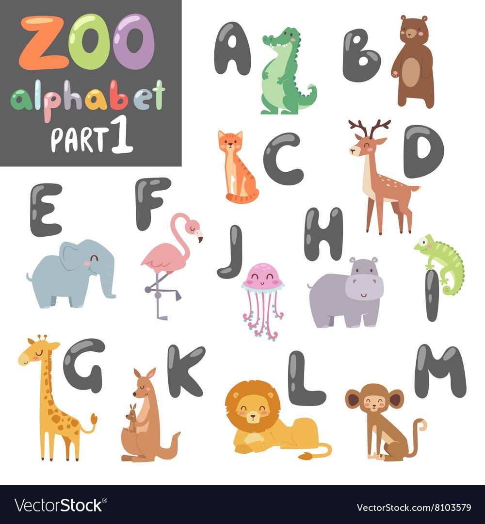 Cute zoo english alphabet with cartoon