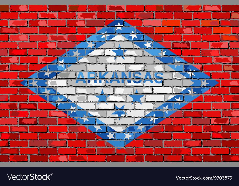 Flag of Arkansas on a brick wall
