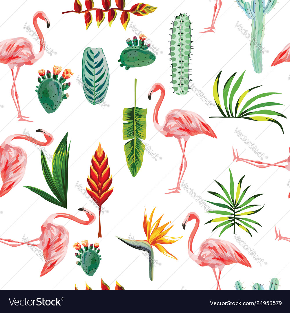 Flamingo leaves flowers seamless white background