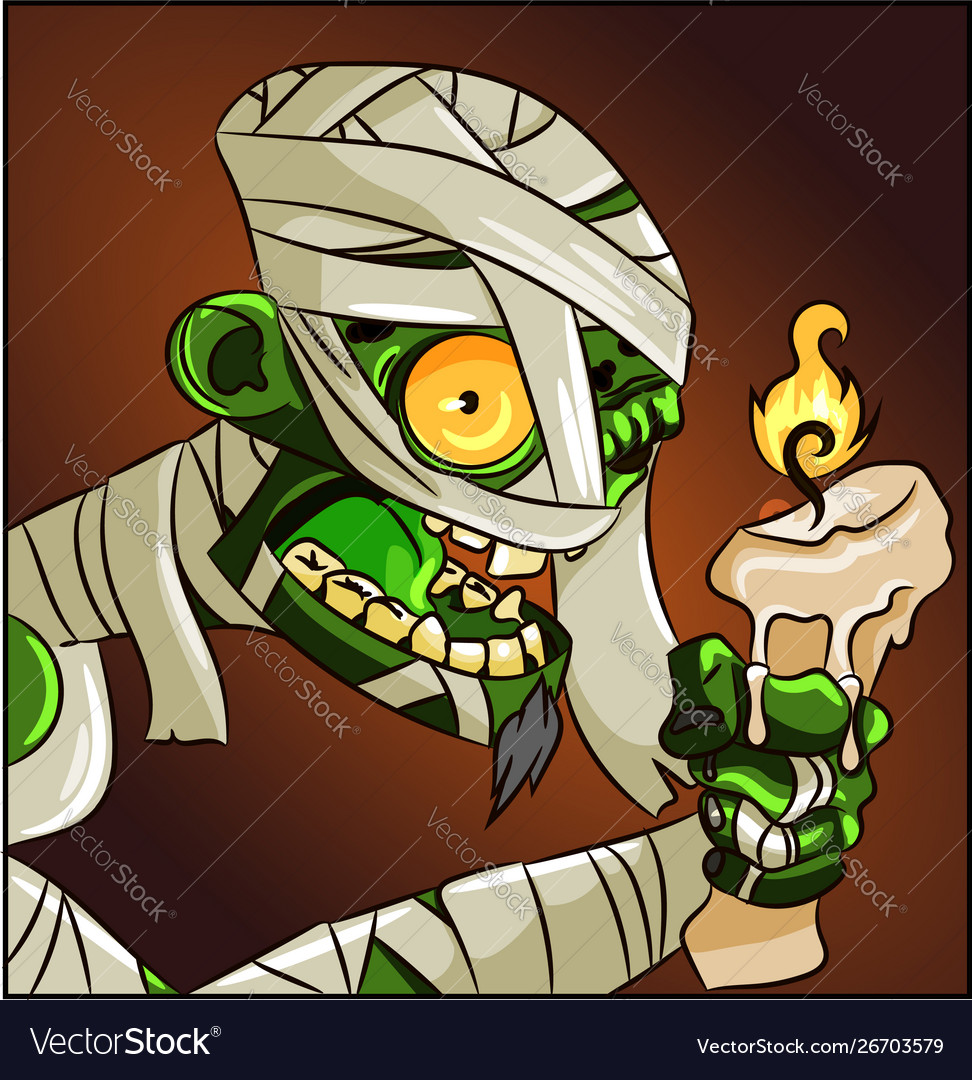 Halloween horror mummy character with a candle