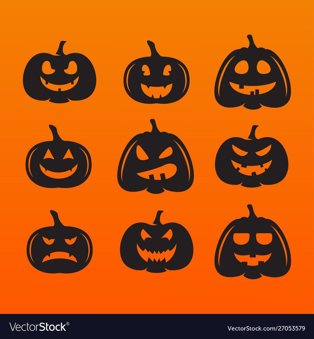 Halloween pumpkins in with set different