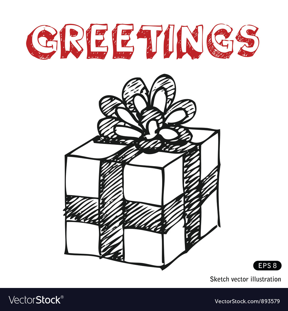 hand drawn gift box royalty free vector image vectorstock