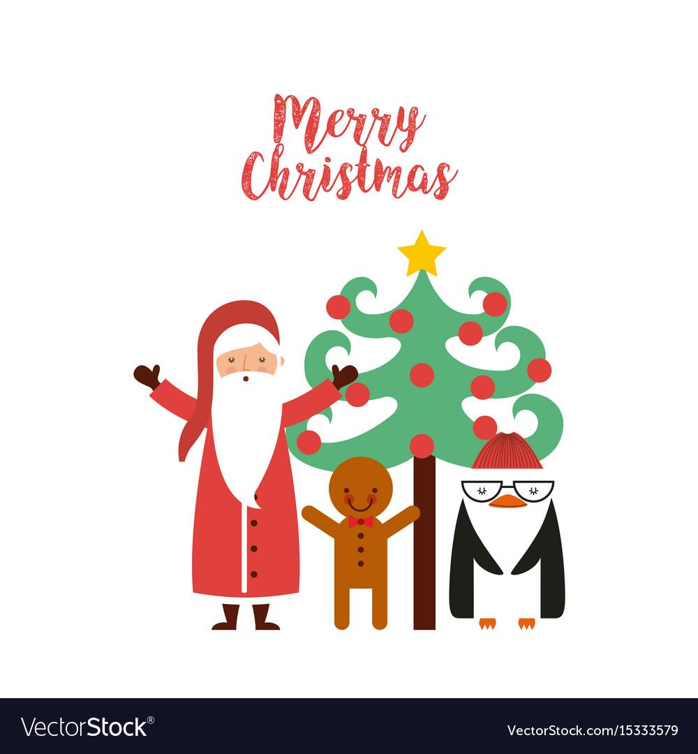 happy merry christmas card vector image - Merry Christmas Card