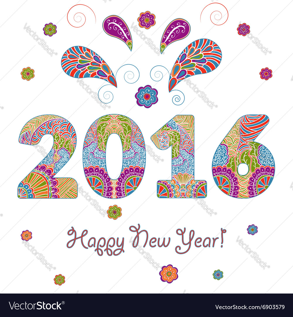 Happy New Year 2016 Greeting Card with vector image